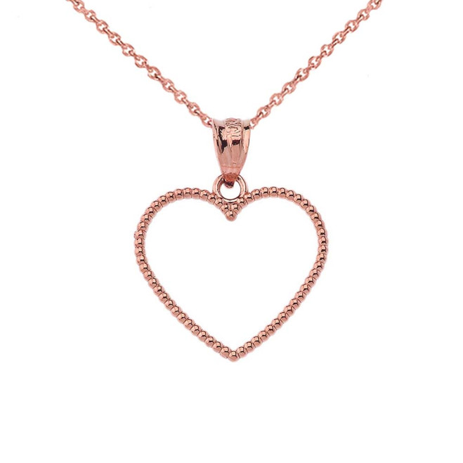 """Two Sided Beaded Open Heart Pendant Necklace in Rose Gold (0.9"""")"""