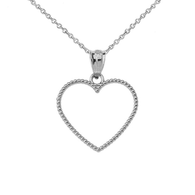 "Two Sided Beaded Open Heart Pendant Necklace in Sterling Silver (0.9"")"