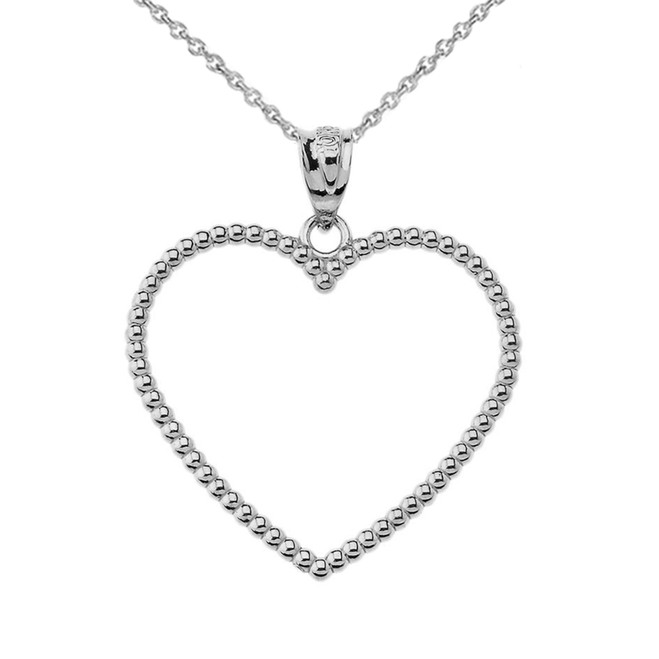 "Two Sided Beaded Open Heart Pendant Necklace in Sterling Silver (1.1"")"