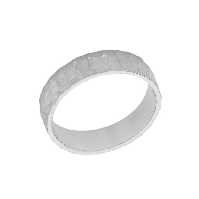 Solid White Gold Hammered 5 Millimeter Wedding Band
