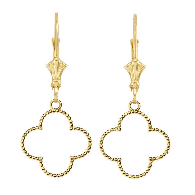 Beaded Open Clover Earrings in Yellow Gold