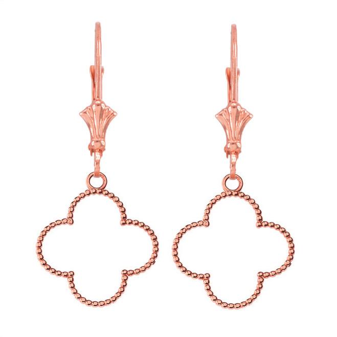 14K Beaded Open Clover Earrings in Rose Gold