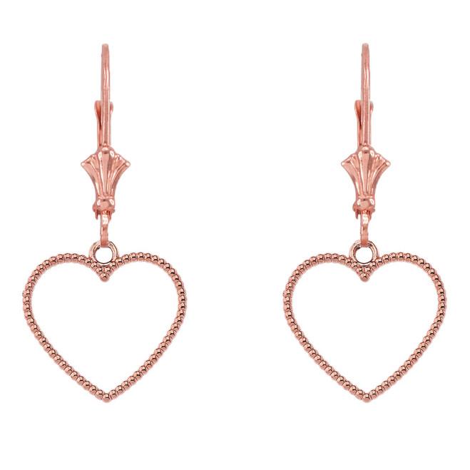 14K Two Sided Beaded Open Heart Earrings in Rose Gold