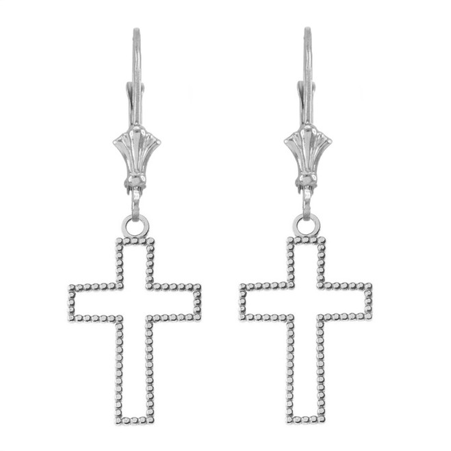 14K Two Sided Beaded Open Cross Earrings in White Gold
