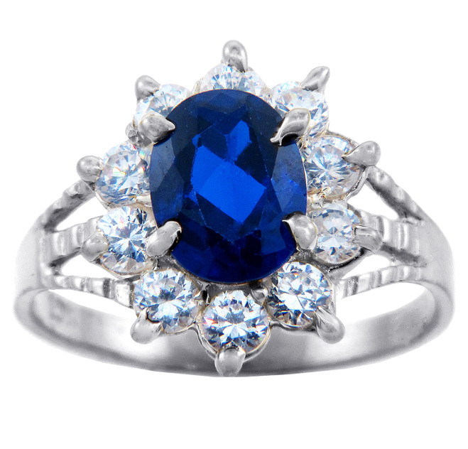 Princess Diana Blue Sapphire White Gold CZ Ring