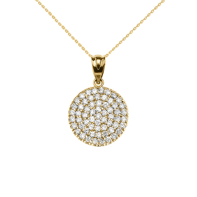 Micro-Pave Cubic Zirconia Circle Pendant Necklace in 14K Yellow Gold
