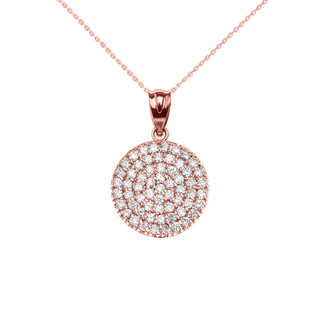 Micro-Pave Cubic Zirconia Circle Pendant Necklace in 14K Rose Gold