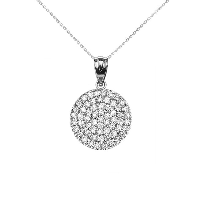 Micro-Pave Cubic Zirconia Circle Pendant Necklace in 14K White Gold
