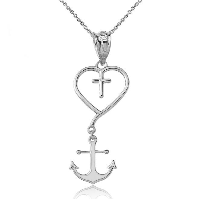 Jesus is the Anchor of My Soul Pendant Necklace in White Gold