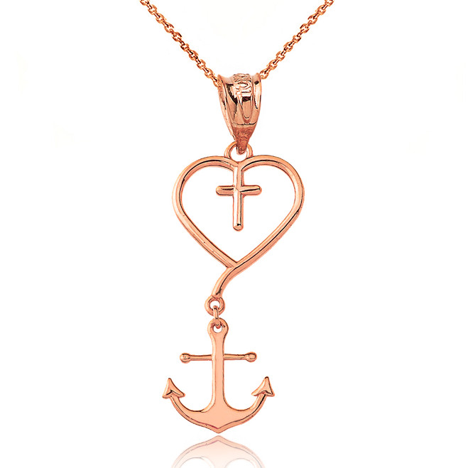 Jesus is the Anchor of My Soul Pendant Necklace in Rose Gold