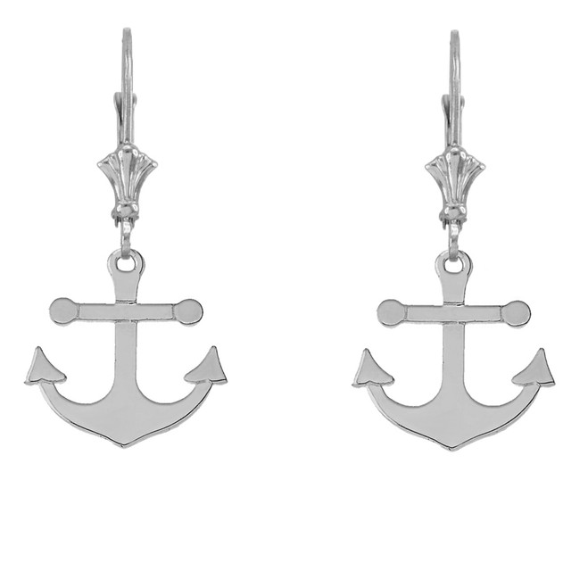 Dainty Sleek Anchor Earrings in 14K White Gold
