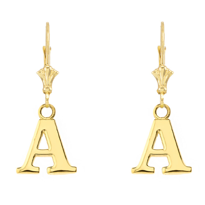 Initial Earrings in 14K Yellow Gold