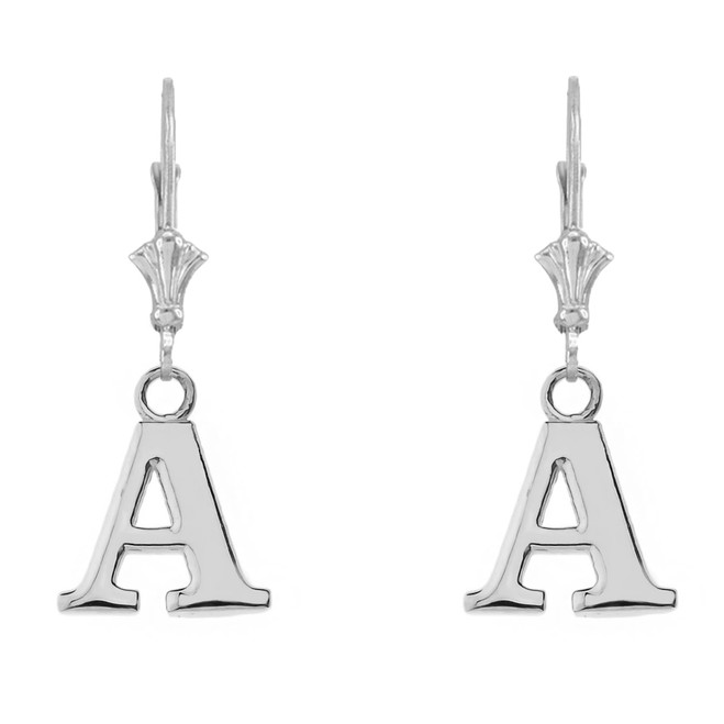 Initial Earrings in 14K White Gold