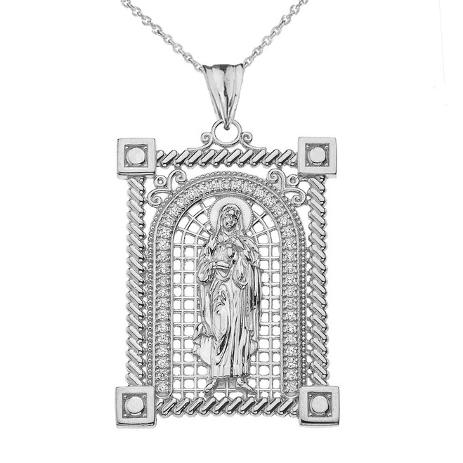 Diamond Sanit Mary Pendant Necklace in White Gold