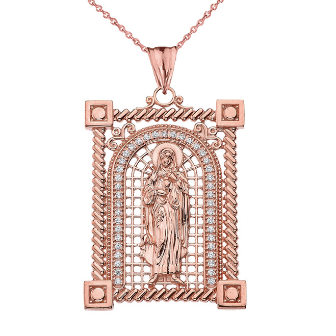 Cubic Zirconia Saint Mary Pendant Necklace in Rose Gold
