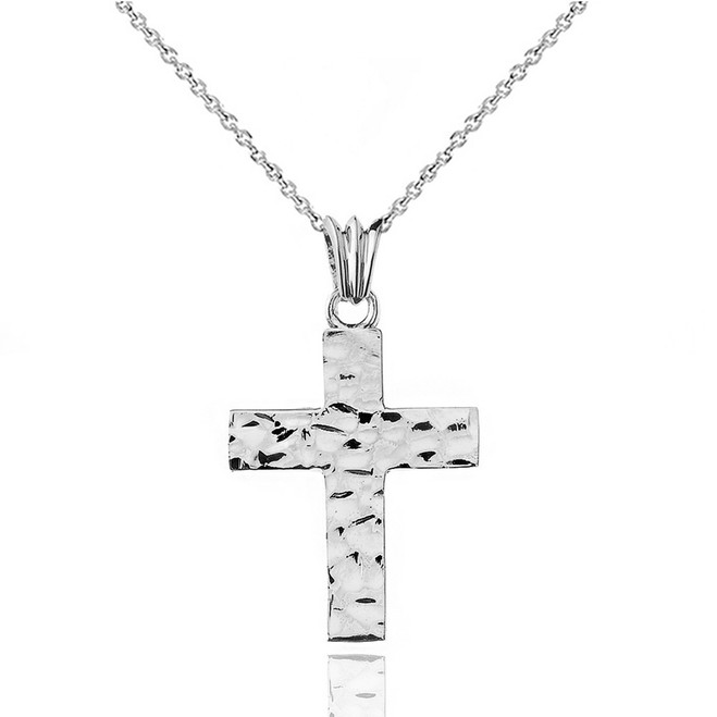 "Hammered Solid Cross in White Gold (1.3"")"