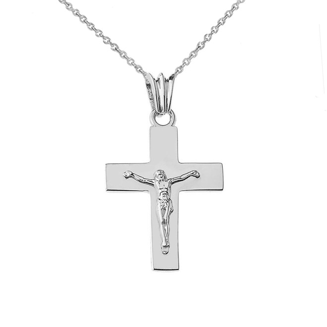 "Solid Crucifix in White Gold (1.3"")"