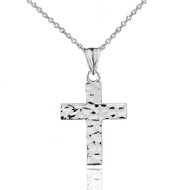 "Hammered Solid Cross in Sterling Silver (1.3"")"