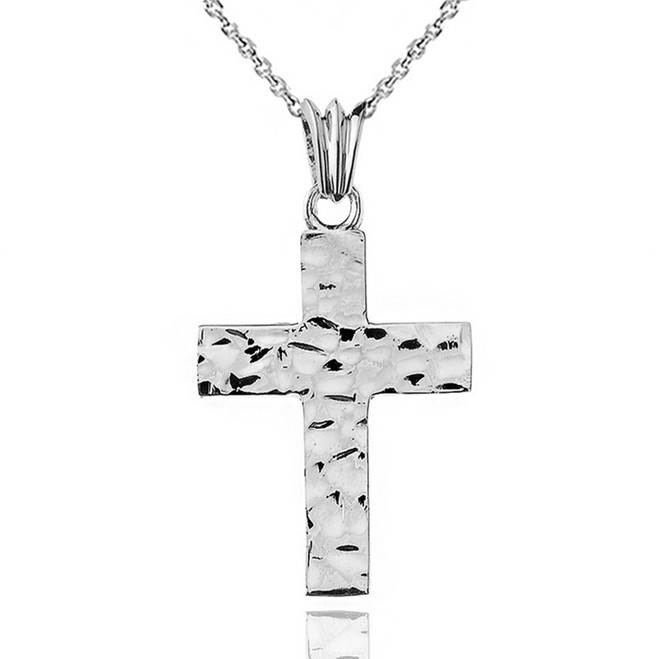 "Hammered Solid Cross in Sterling Silver (1.8"")"