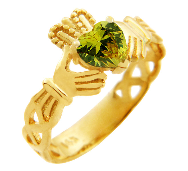 Gold Claddagh Trinity Band Ring with Peridot Birthstone.  Available in your choice of 14k or 10k gold.