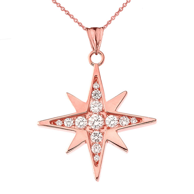 Diamond North Star Pendant Necklace in Rose Gold