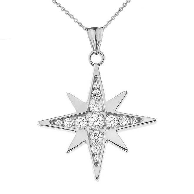 Diamond North Star Pendant Necklace in White Gold
