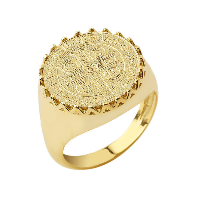 St. Benedict Statement Ring in Yellow Gold