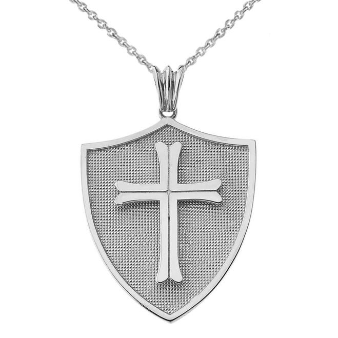 Crusader Shield in White Gold