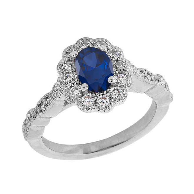 Vintage Style Genuine Sapphire Ring in Sterling Silver