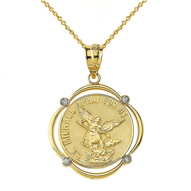Solid Yellow Gold Saint Michael Pray For Us Diamond Circular Frame Pendant Necklace