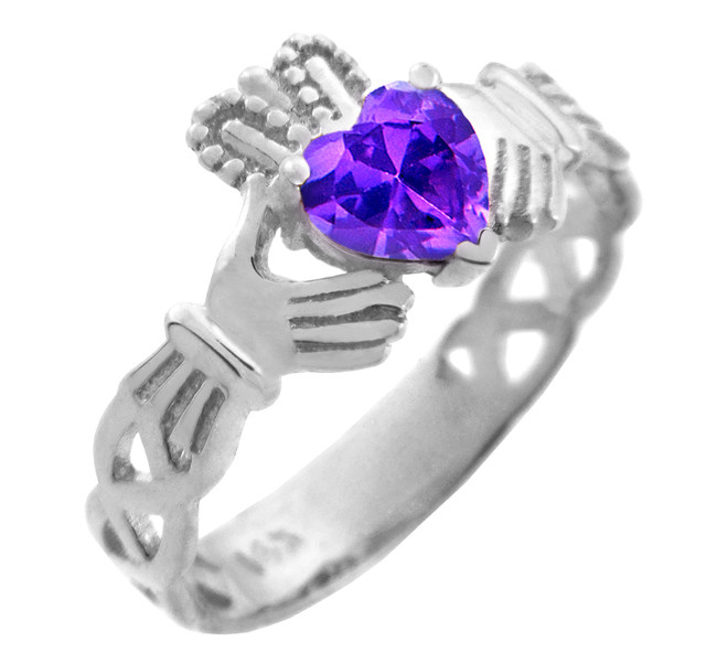 White Gold Claddagh Trinity Band with Alexandrite CZ Heart