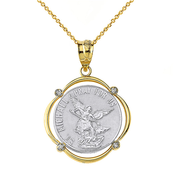 Solid Two Tone Yellow Gold Saint Michael Pray For Us Diamond Circular Frame Pendant Necklace