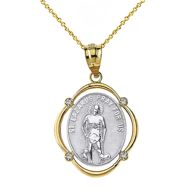 Solid Two Tone Yellow Gold Saint Lazarus Pray For Us Diamond Oval Frame Pendant Necklace