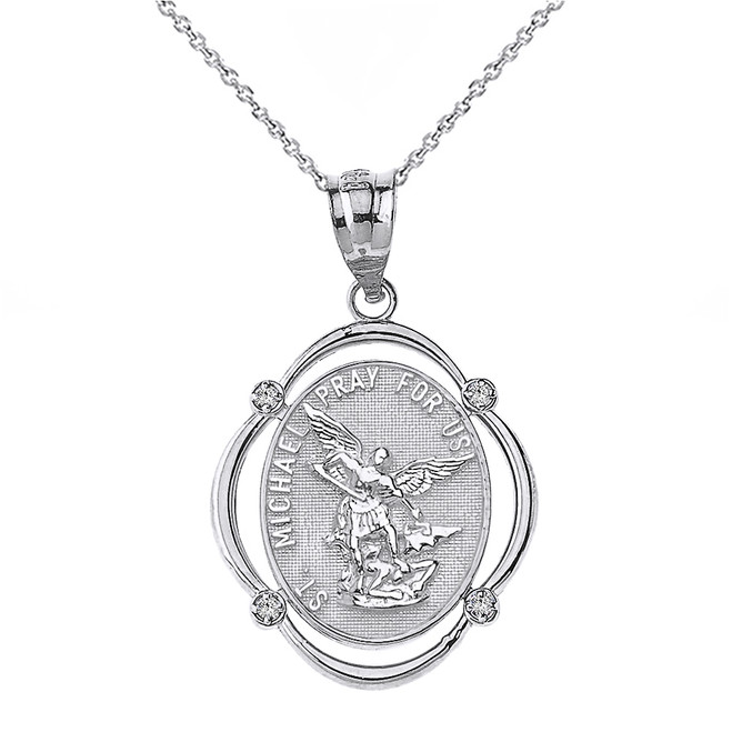 Sterling Silver Saint Michael Pray For Us CZ Oval Frame Pendant Necklace