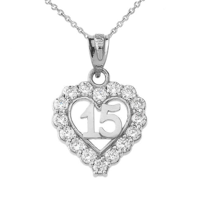 15 Quinceañera Heart Necklace in Sterling Silver