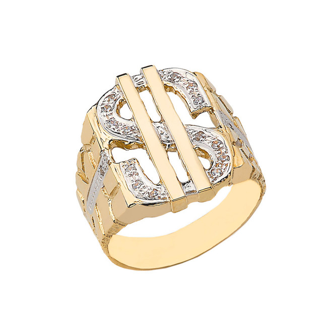 Bold Dollar Sign CZ Nugget Ring in Yellow Gold