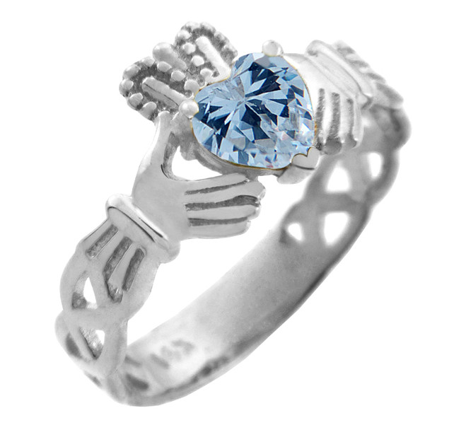 Silver Claddagh Trinity Band with Aquamarine Blue CZ Heart