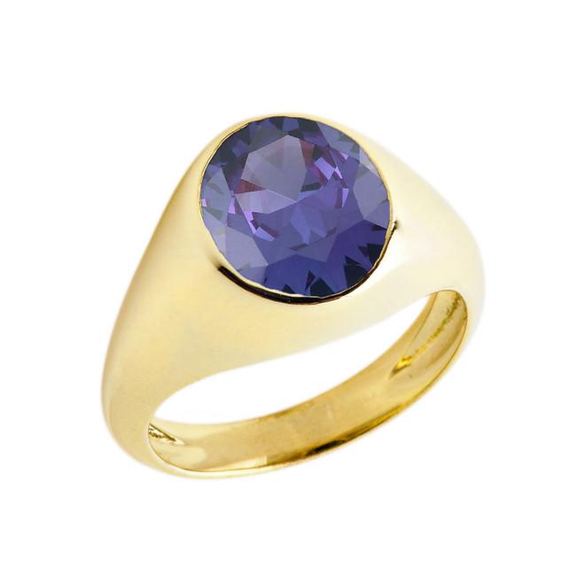 February Birthstone Gentleman's Pinky Ring