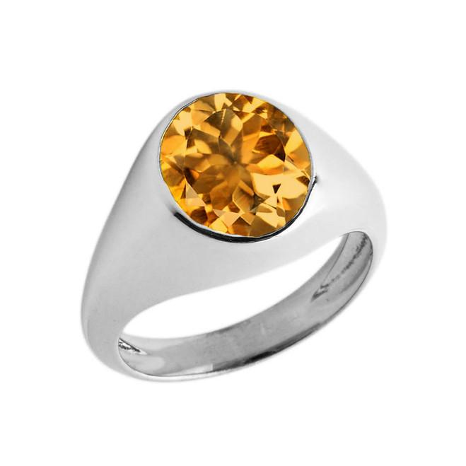 November Birthstone Gentleman's Pinky Ring in Sterling Silver
