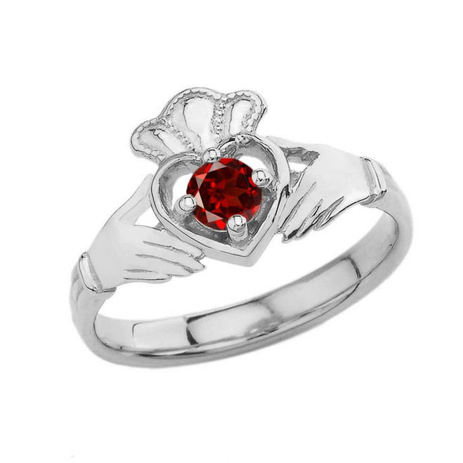 January Birthstone Claddagh with Crown Ring in White Gold