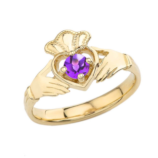 February Birthstone Claddagh with Crown Ring in Yellow Gold