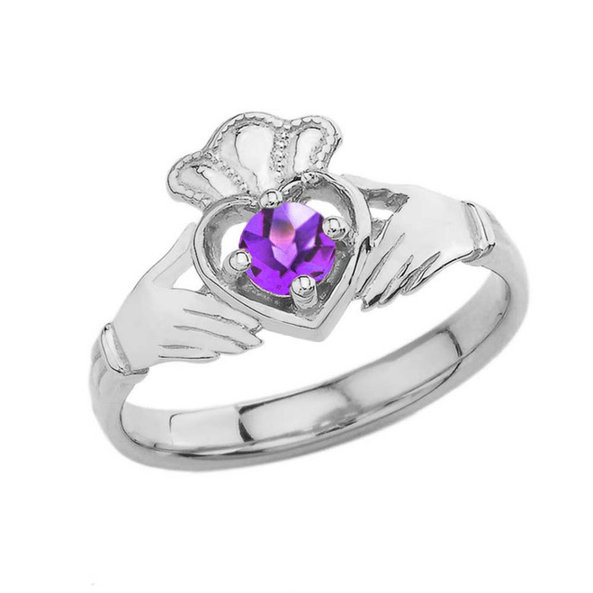 February Birthstone Claddagh with Crown Ring in Sterling Silver