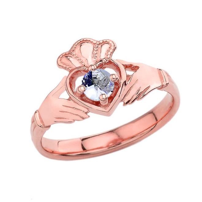 March Birthstone Claddagh with Crown Ring in Rose Gold