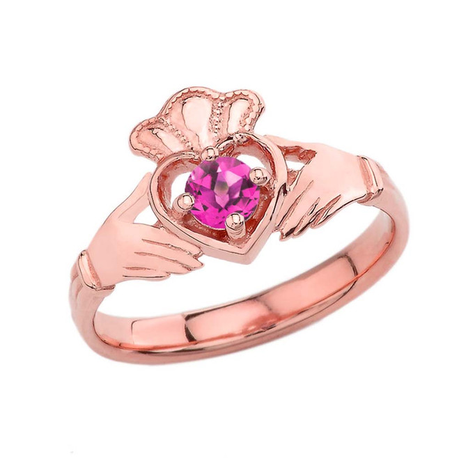 June Birthstone Claddagh with Crown Ring in Rose Gold