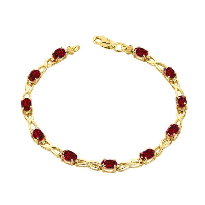 Garnet Infinity Bracelet in Yellow Gold