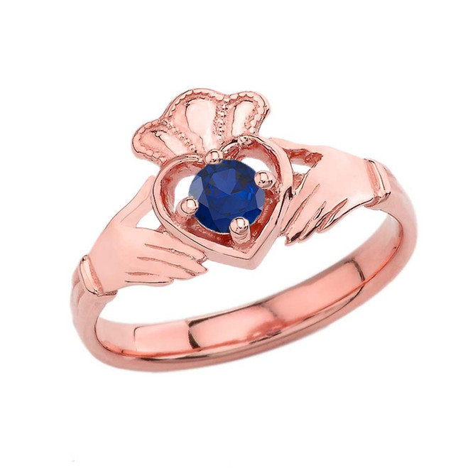 September Birthstone Claddagh with Crown Ring in Rose Gold
