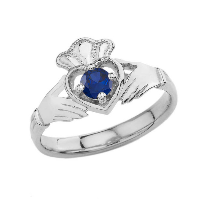 September Birthstone Claddagh with Crown Ring in Sterling Silver