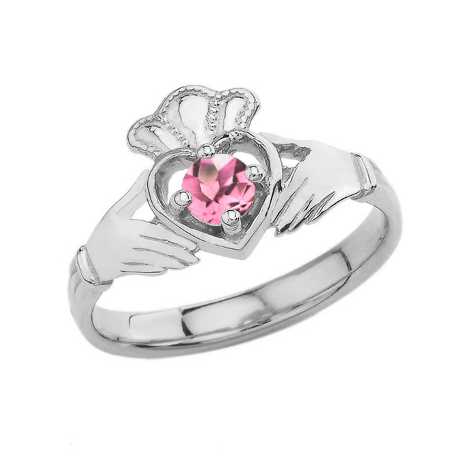 October Birthstone Claddagh with Crown Ring in Sterling Silver