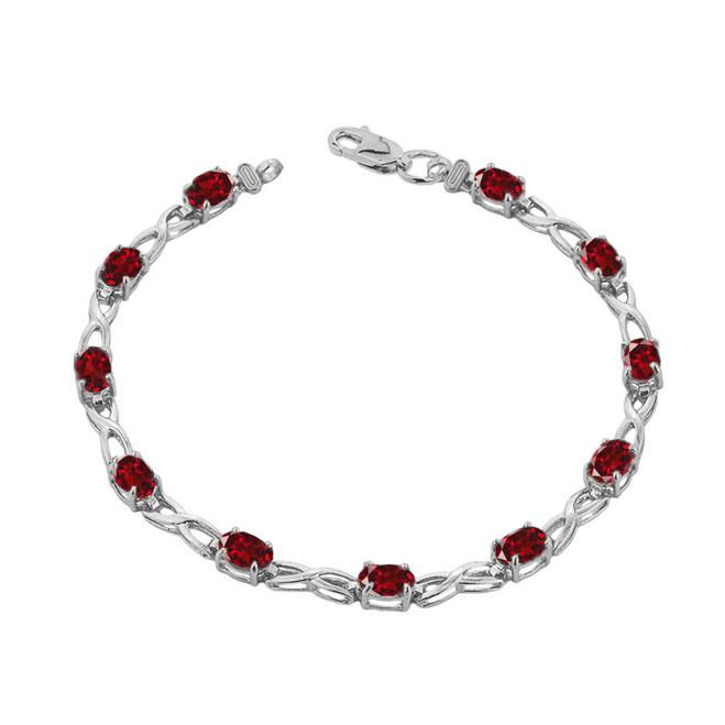 Garnet Infinity Bracelet in Sterling Silver
