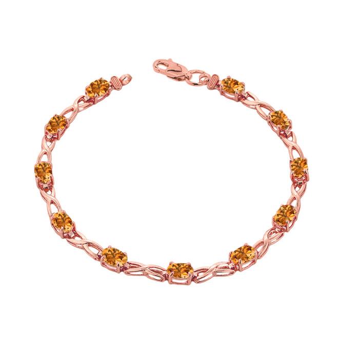 Citrine Infinity Bracelet in Rose Gold